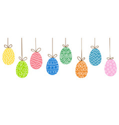 Easter eggs hanging vector