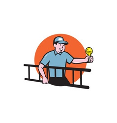 Electrician Ladder Light Bulb Circle Cartoon vector