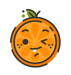 Emoji - winking orange with happy smile isolated vector