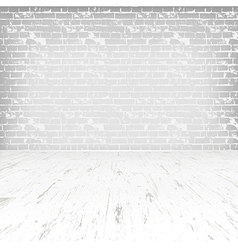 Empty white room with wooden floor and brick wall vector image
