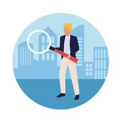 Executive businessman in city vector