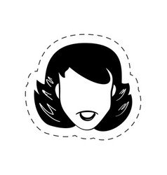 Face woman female black and white vector