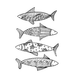 fish with decorative ornament vector image