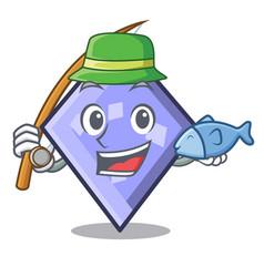 fishing rhombus mascot cartoon style vector image