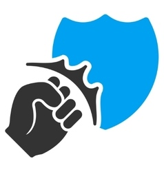 Fist Strike Shield Flat Icon vector