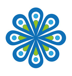 flat blue flower icon vector image