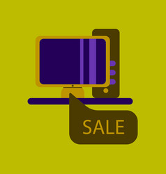 Flat icon of computer sale online buying vector