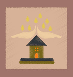 Flat shading style icon hand house rain vector