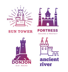 fortress medieval castles labels isolated on vector image