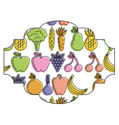 frame with fruits and vegetables pattern vector image