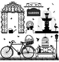 garden park recreational a set garden stuffs vector image