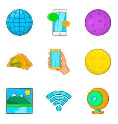 Geological exploration icons set cartoon style vector