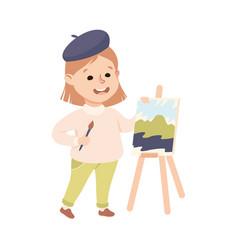 Girl artist painting on canvas cute kid vector
