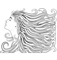 girl with streaming hair linen hand drawn for vector image