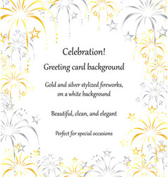 Gold silver fireworks greeting card background vector