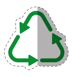 green arrow recycle environment cut line vector image