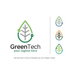 Green tech logo template design vector