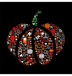 Halloween pumpkin in social media icons vector image