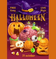 halloween pumpkins with candies witch hat potion vector image