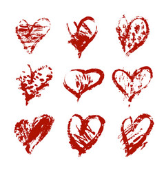 hand drawn heart set with different tools vector image