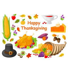 happy thanksgiving poster with icons set vector image