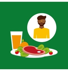 healthy food man with plate food vector image