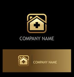 Hospital medic gold logo vector