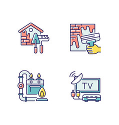house repairs and facilities rgb color icons set vector image