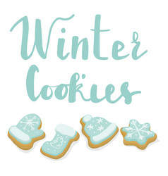 isolated winter christmas cookies with lettering vector image