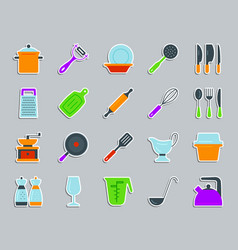 kitchenware patch sticker icons set vector image