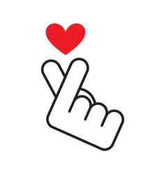 Korean finger heart i love you vector