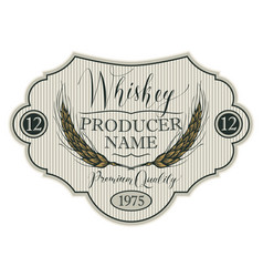 label for whiskey with ears of barley vector image