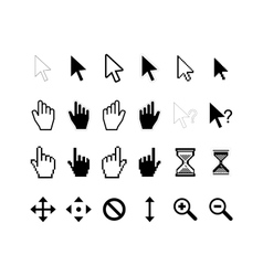 large set computer arrow cursors on white vector image