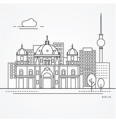 linear berlin germany flat one line style trendy vector image