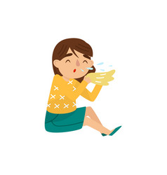 little girl with sneezing symptom of allergy or vector image