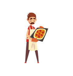 male pizza maker character cooking pizza stage of vector image