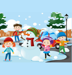 many kids standing in the snow vector image
