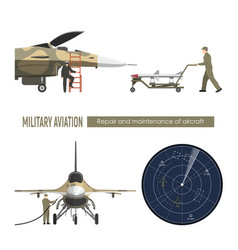 Military airplane repair and maintenance vector