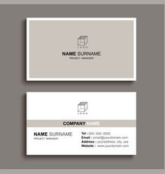 Minimal business card print template design brown vector