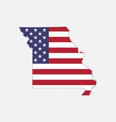 missouri map on american flag vector image