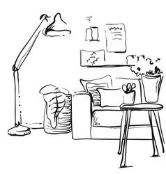 modern interior sketch hand drawing sofa and lamp vector image