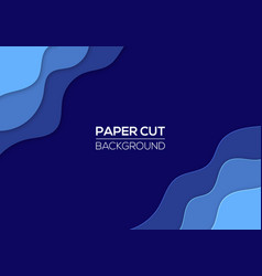 modern paper cut art design template with waves vector image
