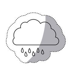Monochrome contour sticker of cloud with drizzle vector