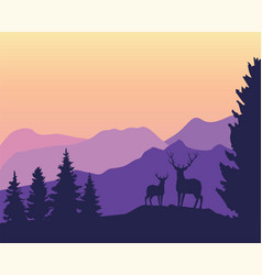 Mountains background with deer vector