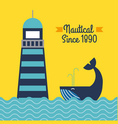 Nautical lighthouse sea whale poster vector