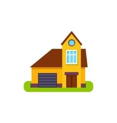 One window suburban house exterior design with vector