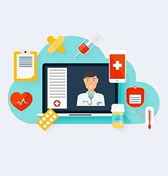 Online medical consultation concept modern vector image
