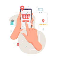 ordering food online application mobile smartphone vector image
