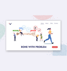 Osteoporosis landing page template tiny male vector