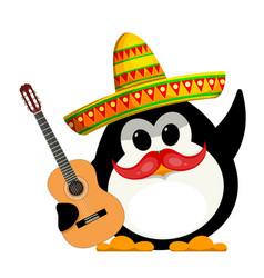 penguin with a guitar and a sombrero cartoon vector image vector image